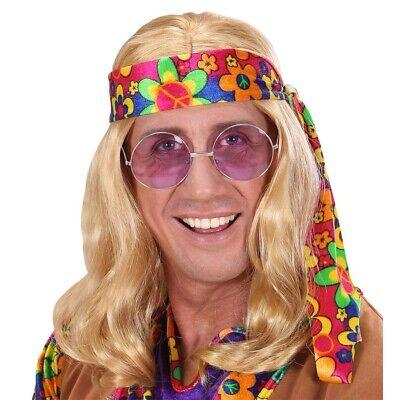 BLONDE HIPPIE PERÜCKE Herren Karneval 60er 70er Jahre Kostüm Motto Party  6496