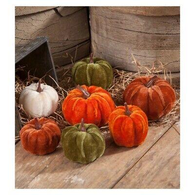 Bethany Lowe Velveteen Pumpkins Set of 7 Fall Autumn Decor Orange Green White