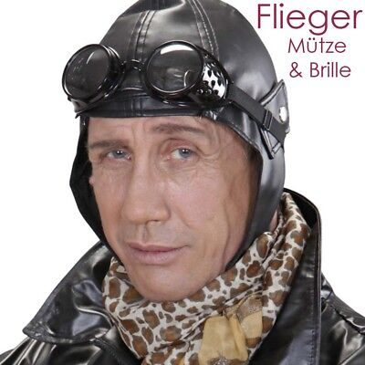 PILOTEN KAPPE & BRILLE # Fliegerbrille Fliegerhaube Flieger Mütze Haube Kostüm
