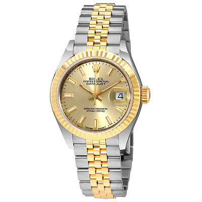 Rolex Lady Datejust Champagne Dial Steel  18K Yellow Gold Automatic Watch 279173