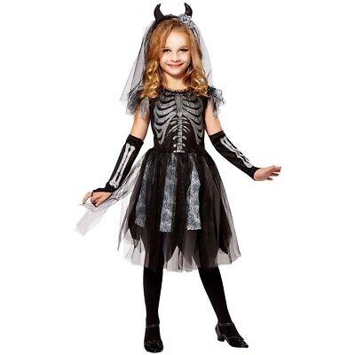 MÄDCHEN SKELETTKOSTÜM Halloween Kinder Skelett Kostüm Kleid Schleier Hörner - Skelett Kleid Kind Kostüm