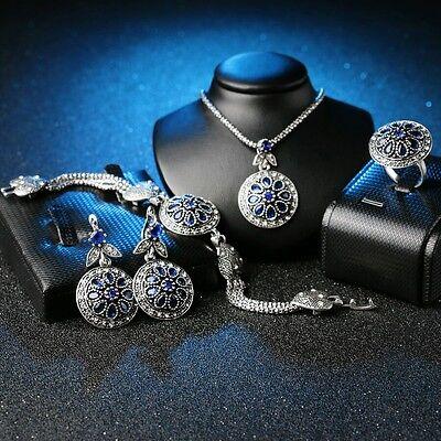 Vintage Jewelry Set Round CZ Sapphire Flower Earrings Bracelet Necklace Ring -