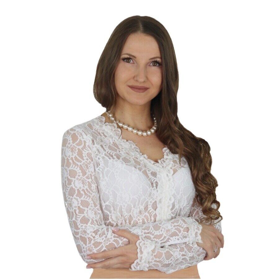 Dirndlbluse 4129 Laura langarm creme weiß Spitzenbluse floral Fuchs Trachtenmode