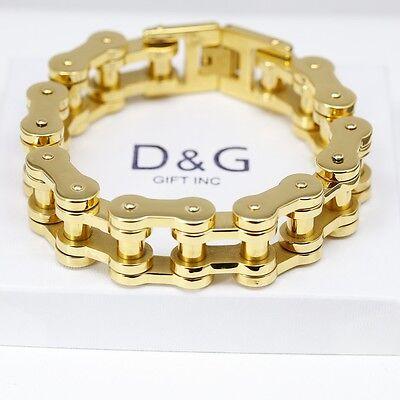 """DG Men's 9"""" Gold Stainless-Steel 20mm Motorcycle Bike Chain Bracelet Unisex,BOX"""
