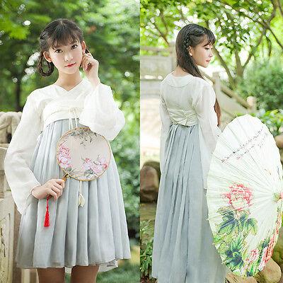 Chinese Ancient Tang Dynasty Ruqun Hanfu Women Chiffon Dress Hallowe (Hallowe Kostüme)