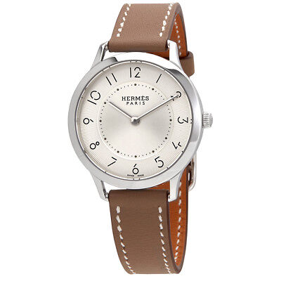 Hermes Slim Silver Dial Ladies Watch W041687WW00
