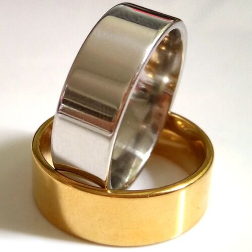 Wholesale 50pcs Gold Silver Comfort-fit Stainless Steel Plain Band Rings 8MM