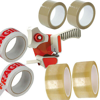 STRONG 6X ROLLS OF PACKING TAPE 2X FRAGILE 2X CLEAR 2X BROWN 1X TAPE DISPENSER