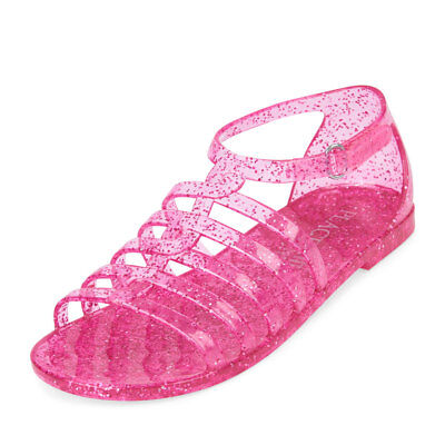 NWT The Childrens Place Girls Pink Glitter Jelly Gladiator Sandals Shoes