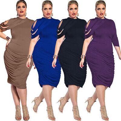 Sexy Plus Size Women Round Neck Irregular Sleeve Bodycon Clubwear Casual Dress - Plus Size Women Clubwear