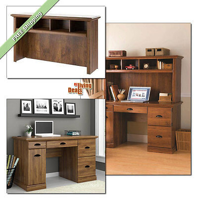 Computer Desk with Storage Home Office Furniture Wood Desks &/or Hutch, Abby Oak