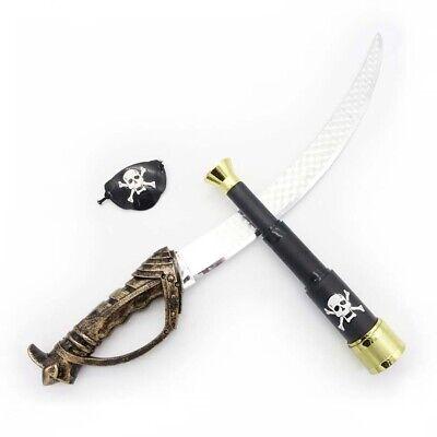 KINDER PIRATEN SPIELSET Säbel Fernrohr Augenklappe Schwert Kostüm Spielzeug