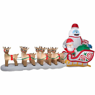 Christmas Santa Rudolph Reindeer Bumble Sled Sleigh Airblown Inflatable 16.5 Ft