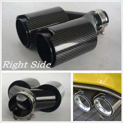 Glossy Y Style Right Side Full Black Thickened Real Carbon Fiber Exhaust End Tip