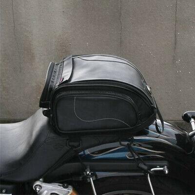 Motorcycle PU Leather Rear Seat Bag Riding Touring Luggage Bag Helmet Pack Bag