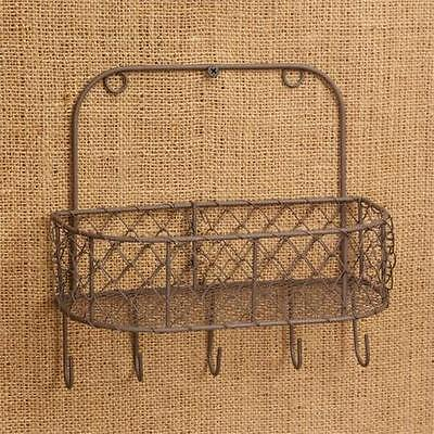 Primitive Country Rustic Chicken Wire Wall Basket Key Letter Holder Farmhouse