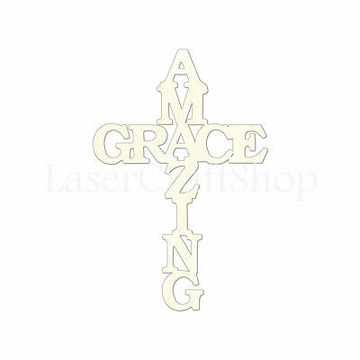 Amazing Grace Cross Wooden Cutout Shape,, Tags, Ornaments Laser Cut #1723