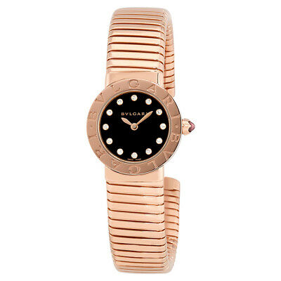 Bvlgari Bvlgari Black Lacquered Dial 18K Rose Gold Diamond Small Ladies Watch
