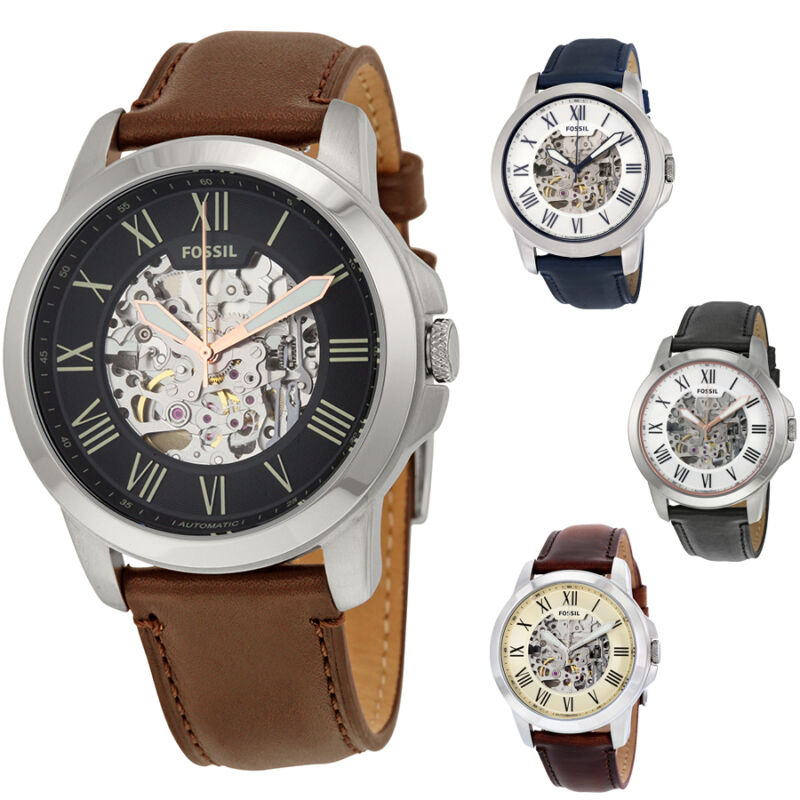 Fossil Automatic Grant Leather Mens Watch - Choose color