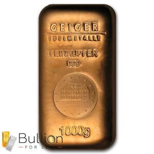 1kg Copper Cast Bullion Bar .999