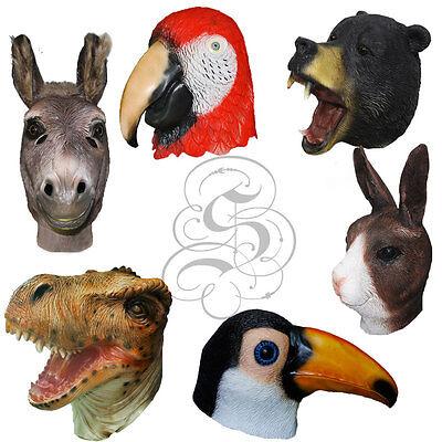 Latex Tierkopf Bär Walross Kaninchen T-Rex Ziege Halloween Props Kostüm Masken