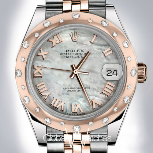 Rolex White Pearl Roman Numeral 24 Smooth Diamonds 18k Rose Gold Ss 31mm Watch