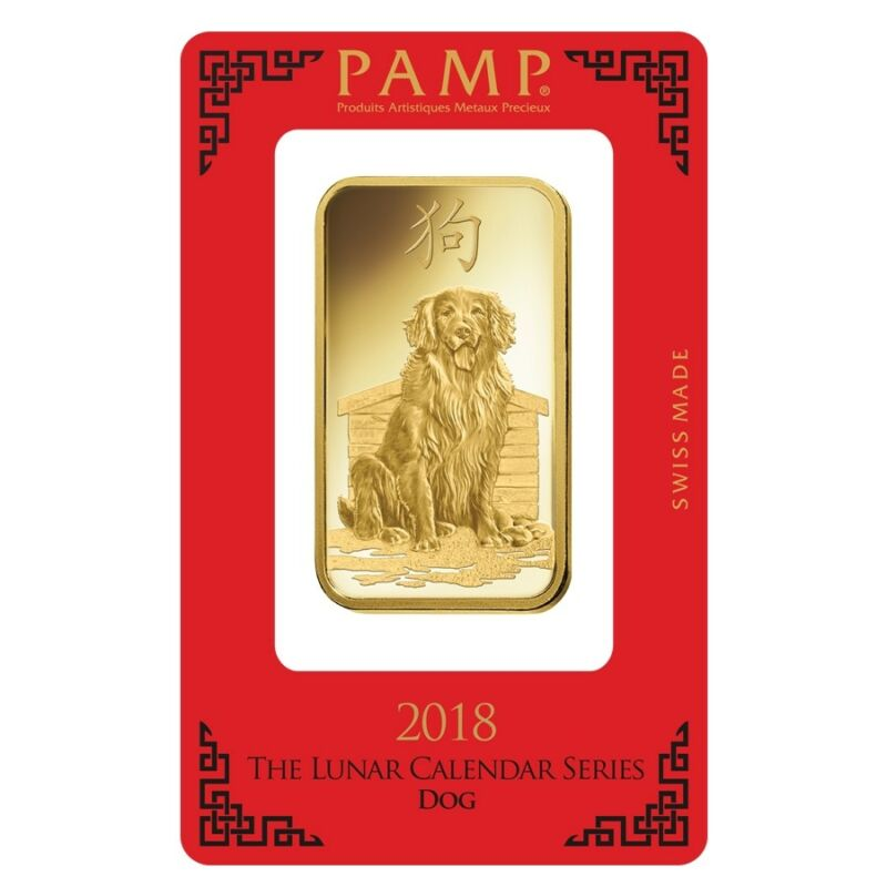 100 gram PAMP Suisse Year of the Dog Gold Bar (In Assay)