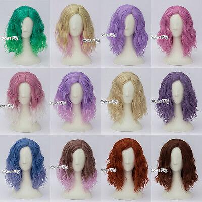 Halloween Fashion (Fashion 13 Farben Halloween 35CM Curly Lolita Harajuku Cosplay Wig + Kappe Damen)