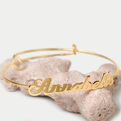 Women's Adjustable Personalized Name Bangle Bracelet Sterling Silver Gold