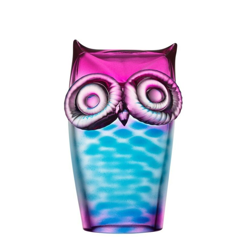 Kosta Boda My Wide Life Owl Blue and Pink NEW