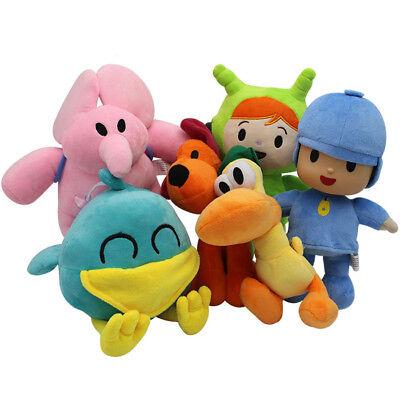 Set Of 6 Pcs Pocoyo Elly Pato Loula Soft Plush Stuffed Figure Toy Doll Gift
