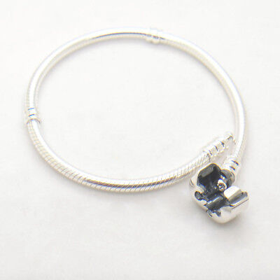 Authentic Sterling silver with Lock Barrel Clasp Bracelet (Sterling Silver Barrel Clasp)