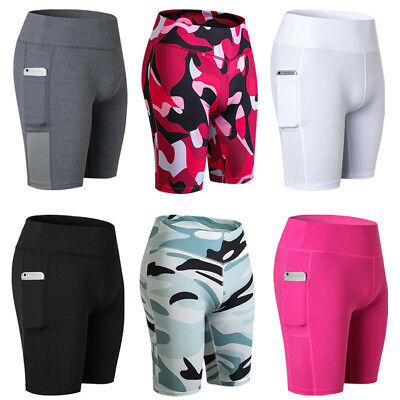 Womens High Waist Yoga Shorts Tummy Control Running Pants Side Pockets