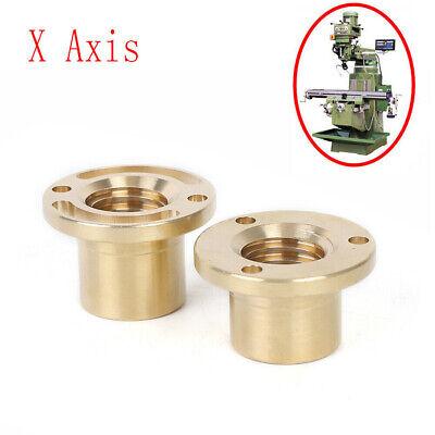 2pcs Milling Machine X Axis Screw Copper Sleeve Brass Feed Nut Mill Tool 32mm