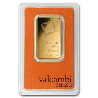 *GOLD AT SPOT PRICE* 1 oz Valcambi Suisse Gold Bar In Assay .9999 Fine