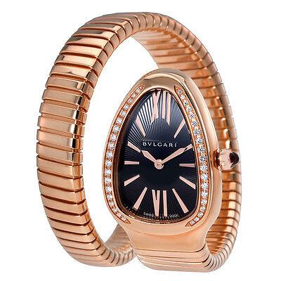Bvlgari Serpenti Tubogas Black Opaline Dial 18k Pink Gold Quartz Ladies Watch