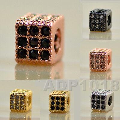 Pave Cube (Zircon Gemstones Pave Square Cube 5x5mm Bracelet Connector Charm Beads )
