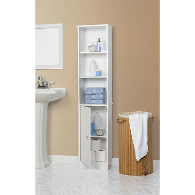New Bathroom Storage Cabinet Tall Linen Towel Organizer Wood Tower Shelves White