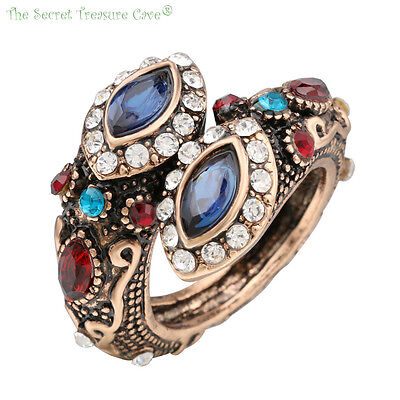 Women's Turkish Mosaic Style CZ Sapphire Evil Eye Snake Wrap Style Fashion Rings - Eye Rings