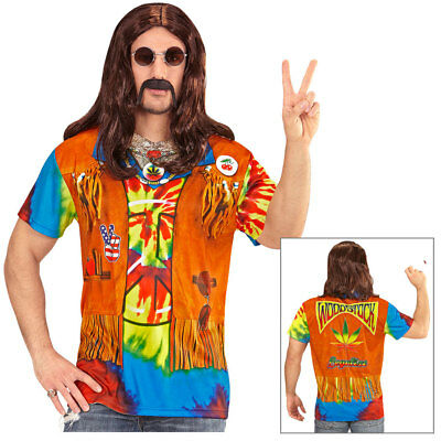 70er Jahre Polyester Shirt (HIPPIE HERREN 3D SHIRT # 60er 70er Jahre Hemd Top Flower Power Kostüm Party 9868)