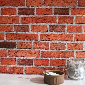 39 en relief 39 texture r aliste effet brique papier peint en rouge briqu - Tapisserie effet brique ...