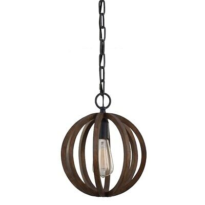 - Feiss 1-Light Mini Pendant, Weather Oak Wood / Antique Forged Iron - P1302WOW-AF