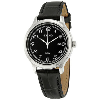 Seiko Black Dial Black Leather Ladies Watch SUR773