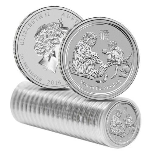 2016 Australia 1 oz Perth .999 Silver Lunar Monkey (from mint roll, in capsule)