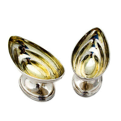 English Footed Oval Open Salts Pair Bateman Sterling Silver 1797