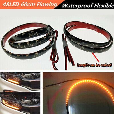 2* 48LED Soft Flexible Built-in decoder Error Free Flowing Turn Signal Lamp 60cm