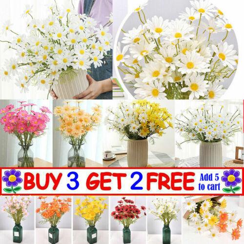 Home Decoration - 5 Head Artificial Daisy Faux Silk Flower Bouquet Wedding Home Garden Grave Decor