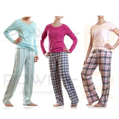 Damen Flanell Schlafanzug Pyjama  Hausanzug  Gr S M L  36 38 40 42 44