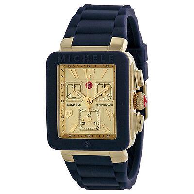NEW Michele Jelly Bean Park Navy & Gold Chronograph Watch MWW06L000027 NIB