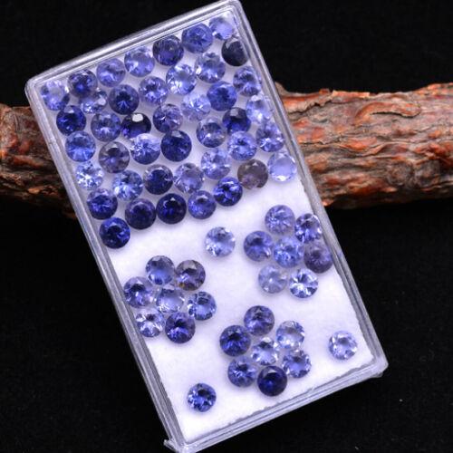 Natural Iolite 4MM Round Faceted Cut Untreated Sparkling 66 Pcs Loose Gemstones